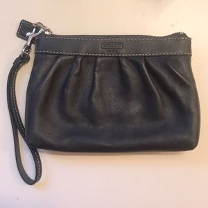 Coach authentic leather black pouch
